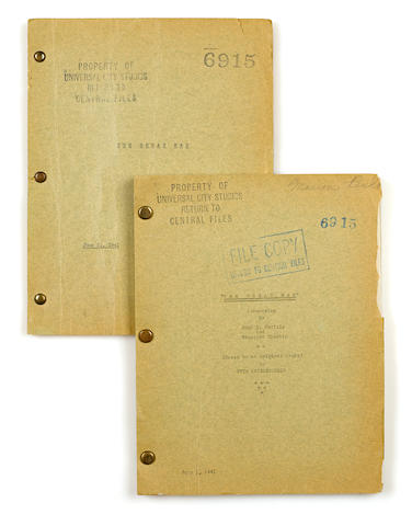 "A screenplay of W.C. Fields' Never Give a Sucker an Even Break Typescript titled ""The Great Man,"" written by John T. Neville and Prescott Chaplin from an original story by Otis Criblecoblis (pseudonym of W.C. Fields), 112 pp, on yellow foolscap, 4to, [Los Angeles], June 21, 1941,"