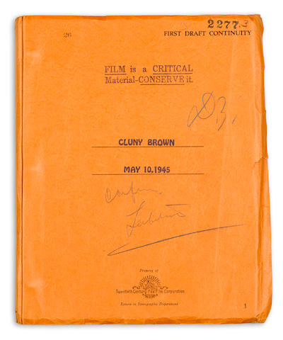 Darryl Zanuck's annotated copy of the first draft screenplay of Cluny Brown