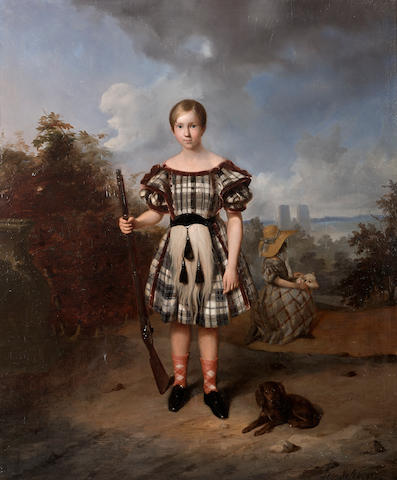 David Emile Joseph de Noter (Belgian, 1825-1892) A young Highland huntsman 33 x 27 1/2in (83.8 x 69.8cm)