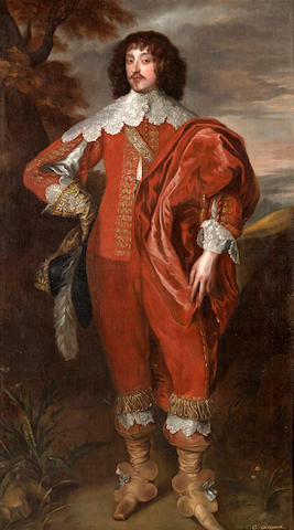 After Sir Anthony van Dyck A portrait of William Villiers, 2nd Viscount Grandison 83 1/4 x 47 3/4in (211.4 x 121.3cm)
