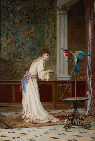 Frederik Hendrik Kaemmerer (Dutch, 1839-1902) Feeding the macaw 43 1/2 x 29 1/2in (110.5 x 74.9cm)