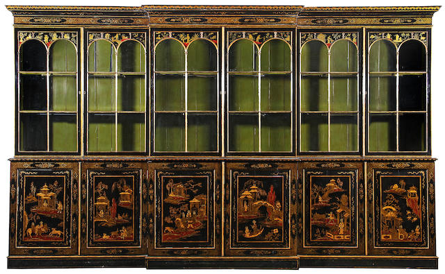 A Regency style églomisé chinoiserie lacquered breakfront cabinet 19th century
