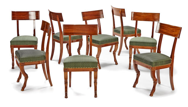 A superb set of eight Directoire mahogany chairs  late 18th century