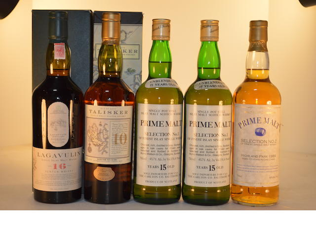 Lagavulin 16 years old (1)   Talisker 10 years old (1)   Prime Malt Selection No. 1- 15 years old (2)   Highland Park 1989- 13 years old (1)