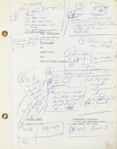 Francis Ford Coppola's working copy of the screenplay for The Godfather