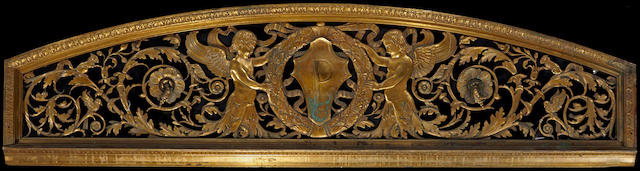 An American Neoclassical style gilt and patinated bronze overdoor trumeau late 19th century