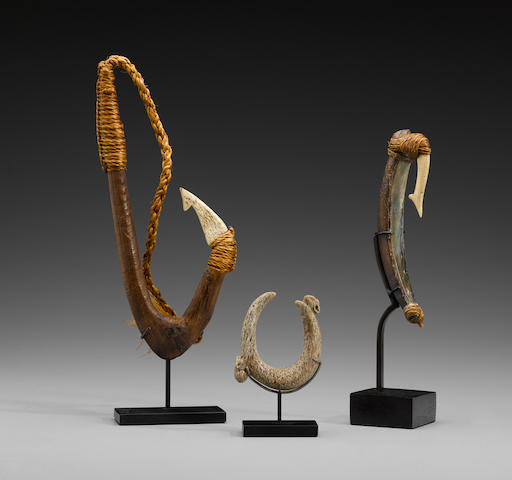 Three Rare Maori Fish Hooks, New Zealand