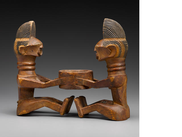 Songye Double-Figure Bowl, Democratic Republic of the Congo
