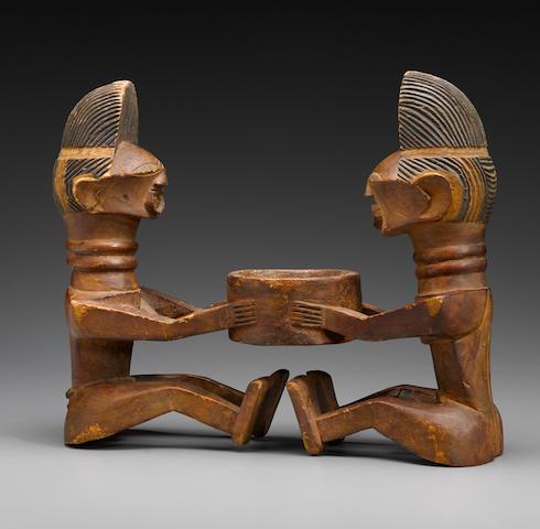 Songye Double-Figure Bowl, Democratic Republic of the Congo