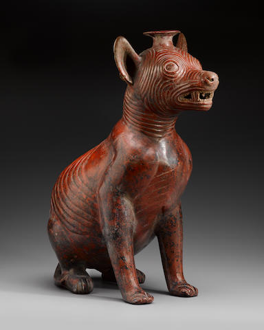 Monumental Colima Seated Dog,Protoclassic, ca. 100 B.C. - A.D. 250