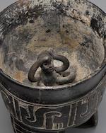 Maya Tripod Carved Vase,Late Classic, ca. A.D. 550 - 950