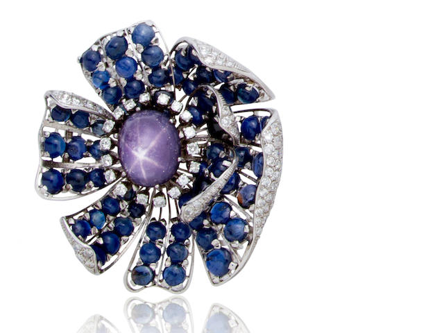 A purple star sapphire, sapphire and diamond brooch
