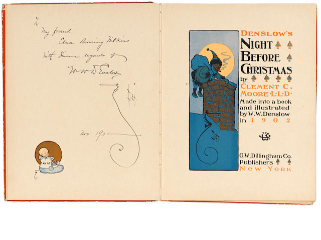 DENSLOW, WILLIAM WALLACE, illustrator. MOORE, CLEMENT CLARKE. Denslow's Night Before Christmas. New York: G.W. Dillingham Co., 1902.