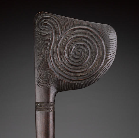 Maori Long-Handled Fighting Staff, New Zealand, carved by Patoromu Tamatea