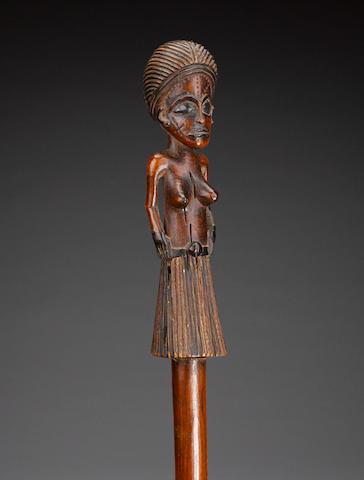Chokwe or Lwena Figural Prestige Staff, Angola
