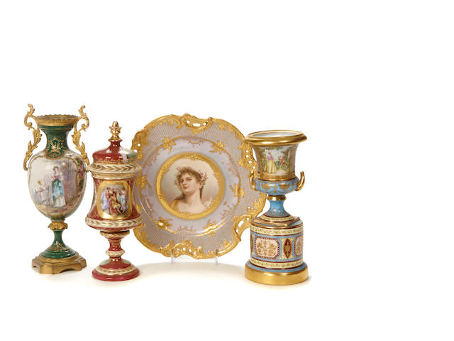 A group of three Vienna style porcelain articles