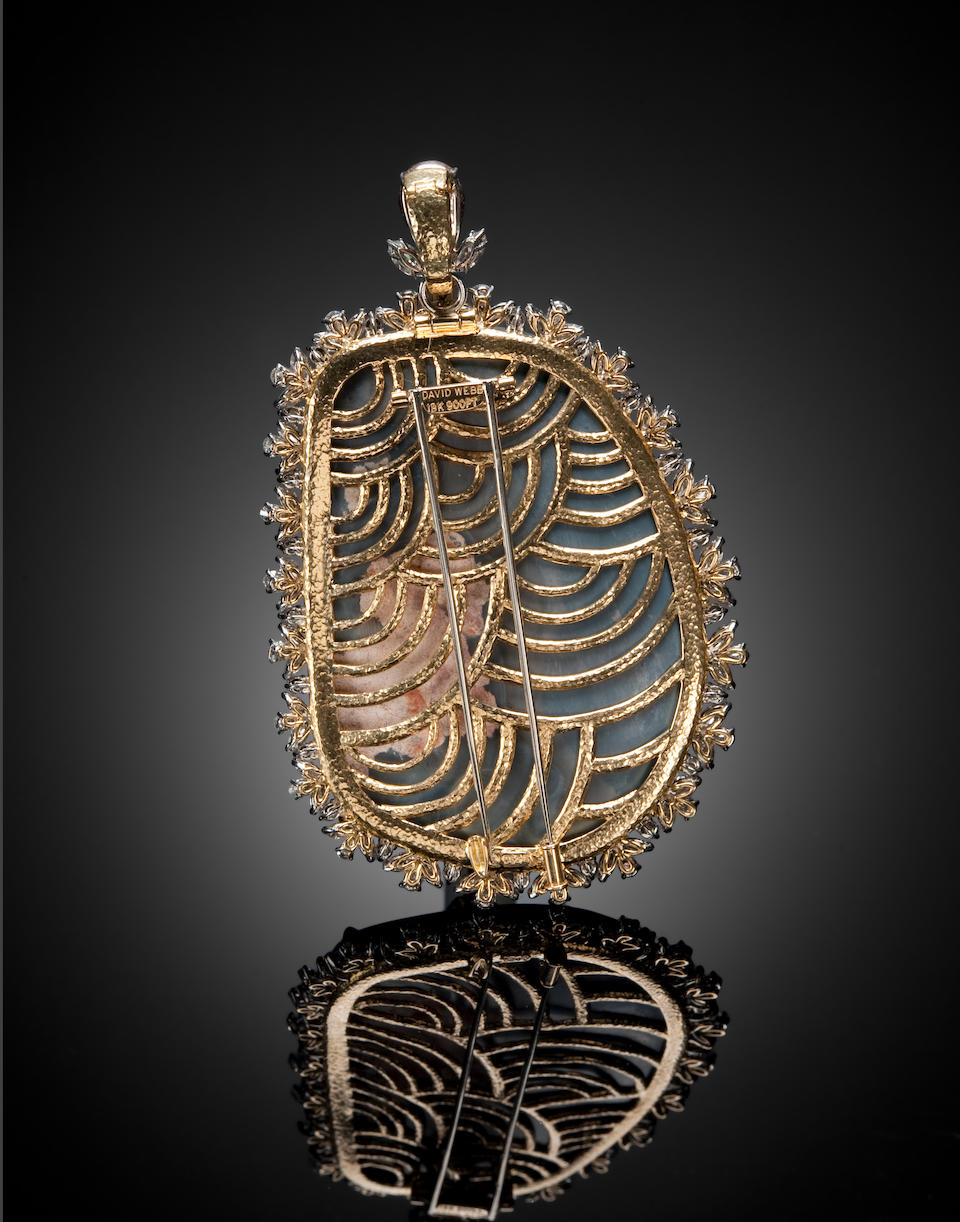 Impressive Black Opal and Diamond Pendant/Brooch by David Webb