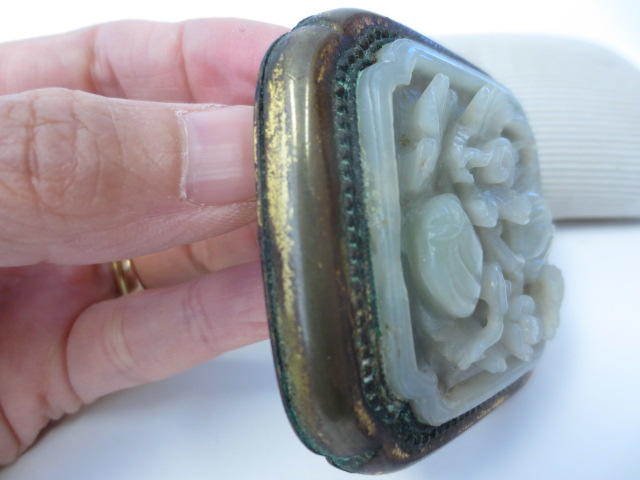 A jade and gilt metal belt buckle 18th/19th century