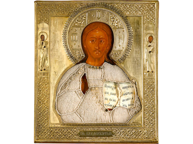 Icon of Christ Pantocrator in silver-gilt oklad and beaded riza (13), 14 x 13in