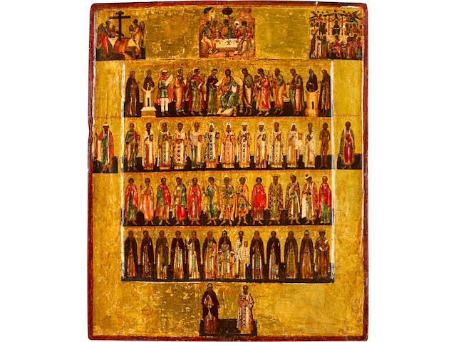 Deeisis Row Icon, with major feasts and selected saintsRussia, Rostov the Great area, 1570-1600