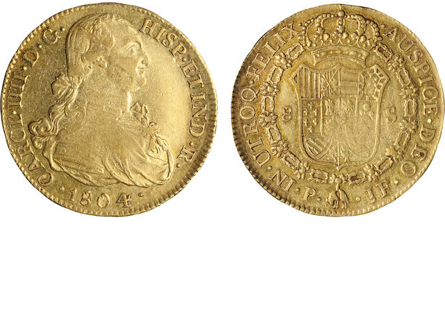 Colombia, Charles IV, Gold 8 Escudos 1804-JF Popayan