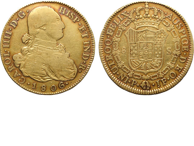 Colombia, Charles IV, Gold 8 Escudos 1806-JF Popayan