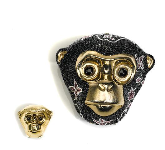 A Judith Leiber crystal Tutankhamun monkey minaudière