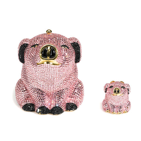 A Judith Leiber crystal pig minaudière