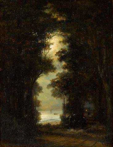 Aleksei Petrovich Bogolyubov (Russian, 1824-1896) 'Road along the bank of Őresund. Night view.'