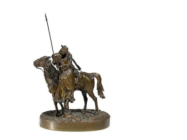 A Russian patinated bronze equestrian group; Cossack Bidding Farewell