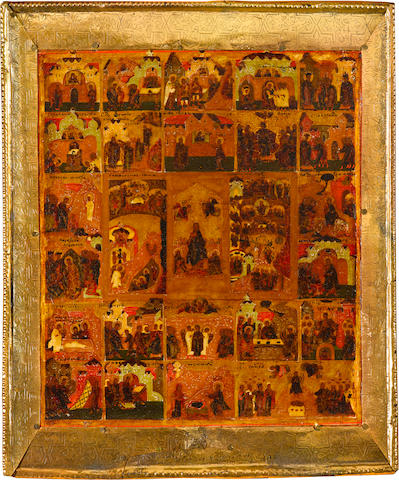 Icon of TriodRussia, Stroganov School, city of Perm', 1600-1650, oklad probably eighteenth century