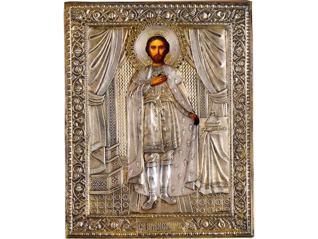 Saint Alexander Nevsky in silver-gilt oklad (911), Moscow, 1908-1917, maker's mark SG in Cyrillic