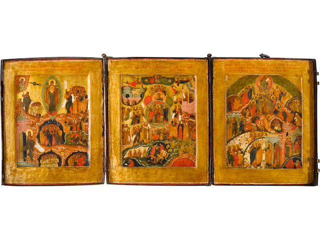 An Icon of Hodigitria Mother of God, tryptych (38), 8 x 20in