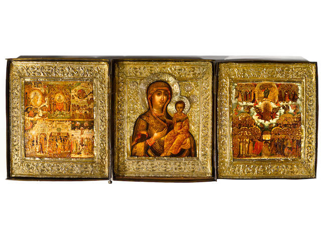 Icon of Smolensk Mother of God with tryptych in metal oklad and basma (19), Russian, 1650-1700, 13 5/8 x 35in (total)