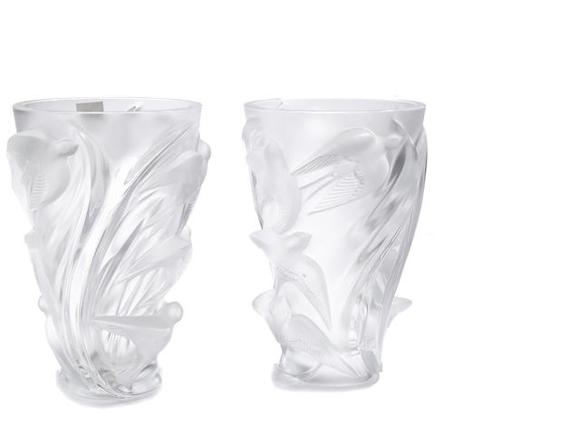 Two Lalique molded frosted glass Martinets vases
