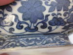 A blue and white glaze and famille-rose enameled porcelain moon flask Qianlong mark