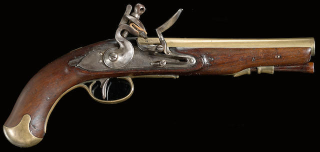 A rare brass-barreled flintlock pistol designed for Philippe D'Auvergne, Prince of Bouillon by Durs Egg