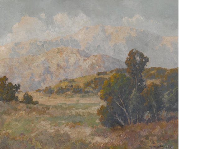Maurice Braun (American, 1877-1941) Landscape with distant mountains, believed to be Escondido Hills 20 x 24 1/4in