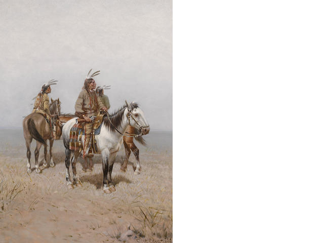 Charles Craig (American, 1846-1931) Three Plains Indians on horseback, 1892 24 x 18in