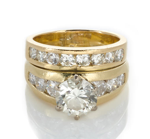 A diamond ring together with a diamond band
