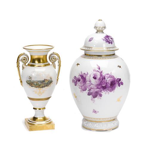 A Meissen two handled porcelain vase