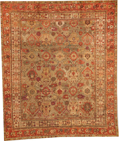 An Oushak carpet West Anatolia size approximately 9ft. 3in. x 10ft. 9in.