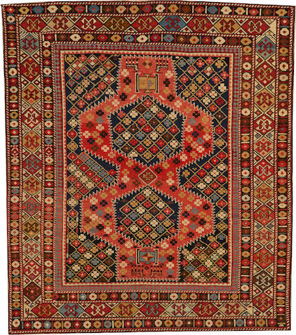 A Shirvan rug Caucasus size approximately 4ft. 1in. x 4ft. 8in.