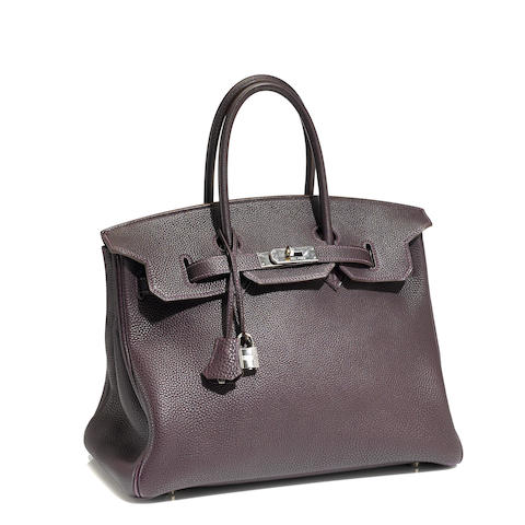 An Hermès aubergine leather Birkin handbag