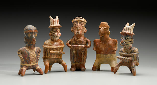 Group of Five Various Nayarit Seated Figures, Protoclassic, ca. 100 B.C. - A.D. 250