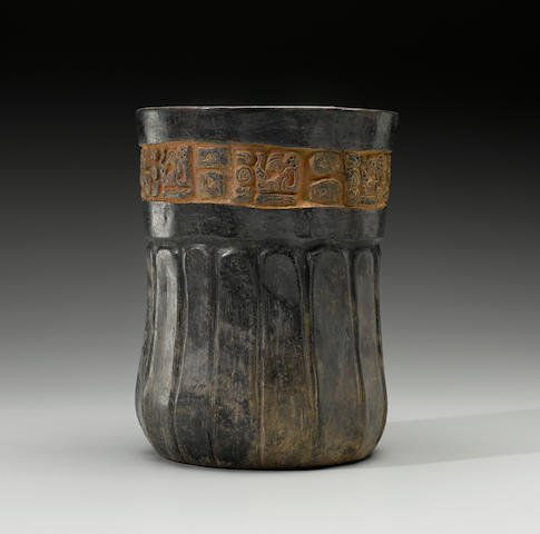 Maya Polychrome Cylinder Vase, Late Classic, ca. A.D. 550 - 950