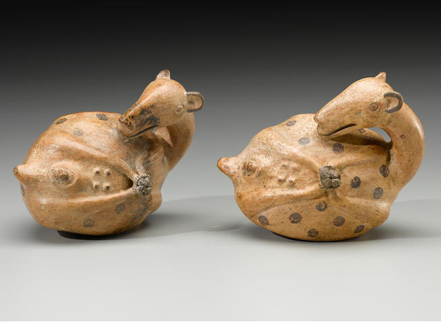 Rare Pair of Vessels Depicting Birthing Llamas, Lambayeque Valley, ca. A.D. 1100 - 1300