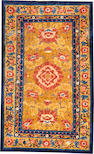 A Chinese metal and silk rug China size approximately 4ft. 11in. x 8ft. 1in.