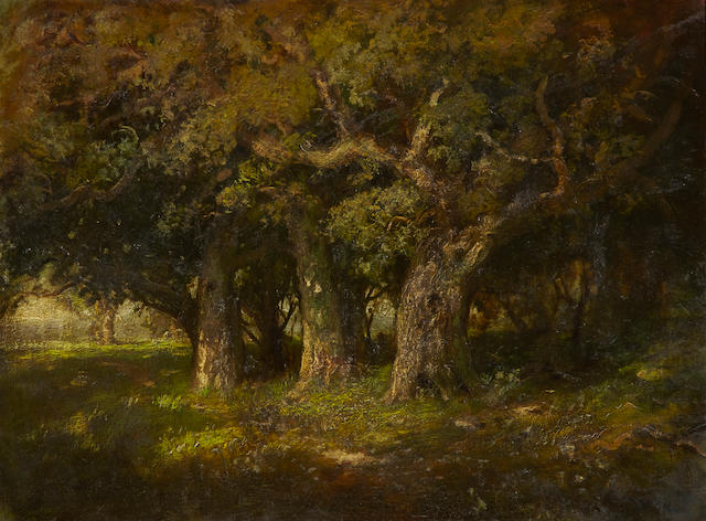 William Keith (Scottish/American, 1838-1911) Study of oaks 30 x 40in