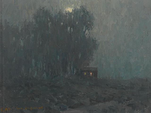 Granville Redmond (American, 1871-1935) Moonlit cabin 6 x 8in